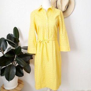 Talbots NWOT Yellow Eyelet Career Shirt Dress 199